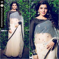 payalsinghal: #Repost @afashionistasdiaries with @repostapp. #SamanthaPrabhu Sari - @payalsinghal Jewelry - @sachdeva.ritika @raabtabyrahul Styled by - @neeraja.kona #bollywood #style #fashion #beauty #bollywoodstyle #bollywoodfashion #indianfashion #celebstyle #payalsinghal
