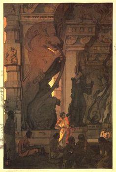 hanga gallery . . . torii gallery: Great Temple in Madurai by Hiroshi Yoshida