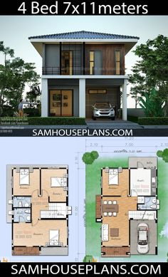 House Plans Idea m with 4 bedrooms - Sam House Plans Sims House Plans, House Layout Plans, Small House Plans, House Layouts, Two Story House Design, Bungalow House Design, Small House Design, Modern House Design, Double Storey House Plans