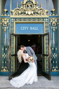 Who would have guessed that a San Francisco City Hall elopement could be this romantic? San Francisco City, Wedding Kiss, Civil Wedding, Civil Ceremony, Unity Ceremony, Wedding Photo Inspiration, Wedding Styles, Wedding Photos, Wedding Ideas