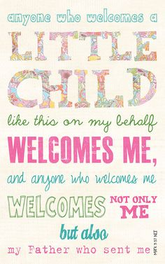 Baby Gift, Baby Shower present, Adoption gift, Scripture Art, Bible Verse Art, Faith Based Art, Mark 9:37, 5x8 art print on wood
