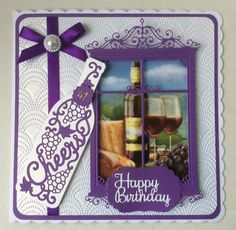 Hunkydory Little Book with  ornate window Die and sentiment. Bottle die from Die-Cutting Essentials Issue 27.