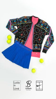 Mix and match by combining different brands and create your perfect outfit for the season. Pair the neon pink Sofibella UV Racer back Tank with the indigo Nike Court Victory Skirt and spice up the look with a coordinating Lucky in Love Velvet Vision Majesty Velvet Bomber Jacket for a great look on or off the courts!