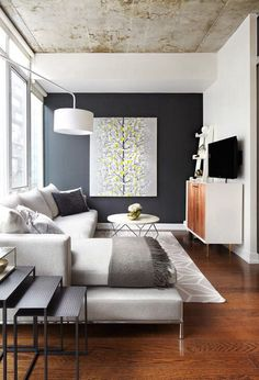 The accent wall with contrast ceiling brings the well balanced design.