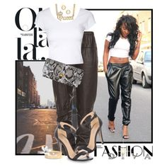 """She's So Fly..Leather Track Pants"" by shortyluv718 on Polyvore"