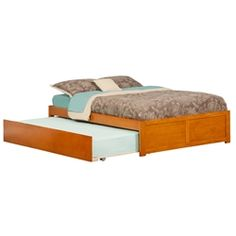 Atlantic Furniture Concord Caramel Latte Full Platform Bed with Flat Panel Foot Board and Twin Size Urban Trundle Bed - The Home Depot Full Platform Bed, Platform Bed Frame, Headboard And Footboard, Headboards For Beds, Luxury Furniture, Bedroom Furniture, Urban Furniture, Ikea Furniture, Furniture Buyers