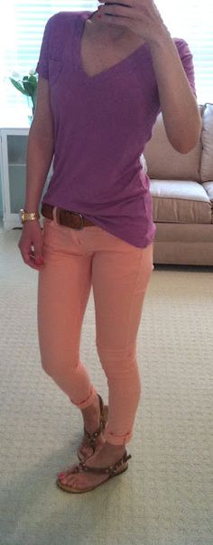 purple top + peach skinny jeans