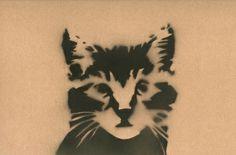 Cat // Stencil Art Print by Michaela Parry
