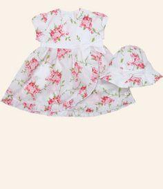 Emile et Rose - Pink Floral Dress - Printed lawn dress with mock wrap  skirt d523d4ee8e2f