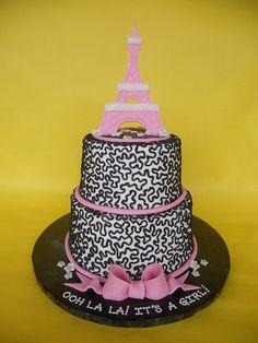 Eiffel Tower Baby Shower Cake