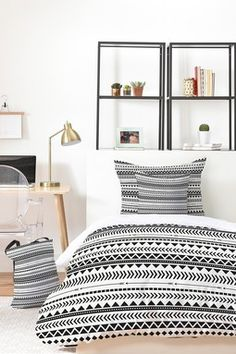 Allyson Johnson Black And White Aztec Pattern Bed in a Bag