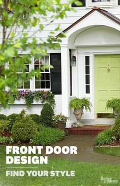 Update a Classic Exterior. Add a splash of color to a traditional exterior with a bright entry door. This soft celery-green door catches your eye and provides a nice accent to the crisp white siding and black shutters. Green Front Doors, Painted Front Doors, Front Door Colors, White Siding, Black Shutters, Exterior Doors, Exterior Paint, Exterior Stairs, Building Exterior