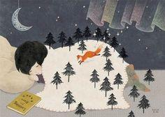 Illustration by Hazuki Koike Art And Illustration, Landscape Illustration, You Draw, Mail Art, Japanese Art, Book Art, Artsy, Sketches, Fine Art