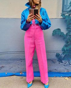 Pink Outfits, Colourful Outfits, Colorful Fashion, Classy Outfits, Chic Outfits, Fashion Outfits, Color Blocking Outfits, Fashion Line, Street Style Women