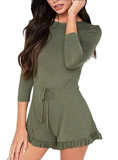 121fa72da08f Yayun Yayu Women s Cowl Neck Long Sleeve Stretchy Waist Lace-up Shorts Casual  Romper Jumpsuit Romper M Army Green