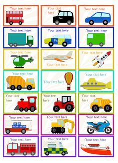 Editable Vehicle Themed Stickers...A set of editable vehicle themed stickers, ideal to use as rewards for children who achieve certain goals.