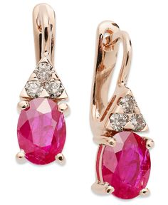 14k Rose Gold Ruby and Diamond Oval Earrings