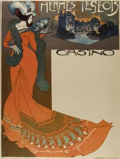 Thermes Liegeois by Georges De Feure[more here] Color offset lithograph poster. c.1900