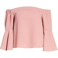 TOPSHOP Ella Off the Shoulder Top (115 PLN) ❤ liked on Polyvore featuring tops, crop tops, blusas, long sleeve tops, shirts, pink, pink crop top, three quarter sleeve shirts, flared sleeve top and long-sleeve crop tops