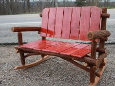 Sassafras rocking settee - this bench is begging for a cozy couple and a bottle of Cotes du Rhone, we reckon. Rocking Bench, Little Cabin, Outdoor Chairs, Outdoor Decor, Cabins In The Woods, My Dream Home, Country Decor, Outdoor Living, Backyard