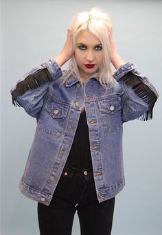 Image of After Dark Sun& Moon Denim Oversized Boyfriend Tassel Jacket