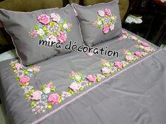 Bed Linen, Linen Bedding, Draps Design, Bed Cover Design, Designer Bed Sheets, Bed Pillows, Cushions, Ribbon Work, Ribbon Embroidery