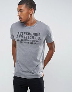 1512249216769 Abercrombie   Fitch Slim Fit T-Shirt Print Logo in Gray - Gray