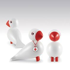 Rosendahl Kay Bojesen Songbird, Red Cross 1950. The white bird with red legs, red beak and a ribbon around its neck is designed in the Red Cross own colours.