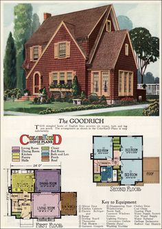 1927 American Builder - Goodrich by Radford This English Cottage style home with three bedrooms and one bath has a fair amount of curb appeal because of its shake siding and Revival character. If you want storage though, it needs the basement as origin The Plan, How To Plan, Cottage Style Bedrooms, Cottage Style Homes, Cottage Floor Plans, House Floor Plans, English Cottage Style, English Cottages, Casas The Sims 4