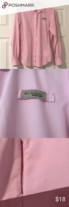 Women's Columbia PFG fishing shirt Beautiful blush pink color. Breathable wicking fabric is UPF 50+. Great for any outdoor activities. Small stain near zip pocket (shown in pic) can probably be removed if treated with stain remover. Columbia Tops Button Down Shirts