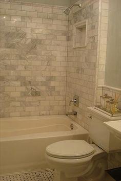 Carrera Marble Subway Tiles - Transitional - bathroom - Benjamin Moore Quiet Moments - Small and Chic Home Bathroom Renos, Bathroom Renovations, Home Remodeling, Bathroom Ideas, Bathroom Designs, Bathroom Modern, Downstairs Bathroom, Bathroom Interior, Green Bathrooms