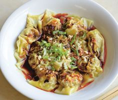 """Sichuanese Wontons in Chilli Oil Sauce (Hong You Chao Shou) by Fuchsia Dunlop, """"Every Grain of Rice: Simple Chinese Home Cooking"""" Szechuan Recipes, Asian Recipes, Oriental Recipes, Asian Foods, Chinese Recipes, Cookbook Recipes, Cooking Recipes, Great Recipes, Favorite Recipes"""