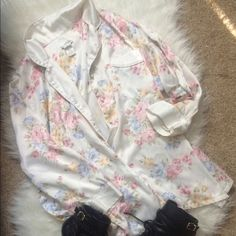 Vintage White Floral Thin Jacket super cute and comfortable, soft thin white jacket with floral rose pattern all over. kind of looks like pajamas- would be really cute to wear out with jeans and black heels. dress it up with gold jewelry. pink purple blue gold yellow and green accents Vintage Jackets & Coats Blazers