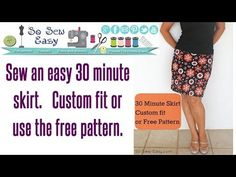 30 minute skirt - sew an easy stretch skirt in minutes Free Pattern and tutorial. Easy Sewing Projects, Sewing Projects For Beginners, Sewing Tutorials, Sewing Hacks, Sewing Crafts, Sewing Patterns, Serger Projects, Video Tutorials, Knitting Patterns