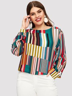 Plus Striped Curved Hem Blouse Polyester Spandex, Plus Size Blouses, Women Brands, Types Of Sleeves, Blouses For Women, Fashion News, Fall Fashion, Fashion Trends, Plus Size
