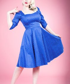 Blue & White Pin Dot Square Neck Dress - Women #zulily #zulilyfinds