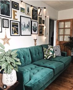 Green, gold and wooden tones looking splendid together - sofa from  sofa.com How to use dark green in your living room #melaniejadedesign #livingroom