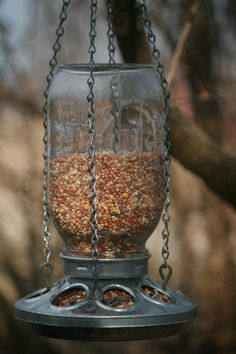 Mason+Jar+Bird+Feeder+Repurposed+Mason+Jar+by+HeritageTreeSoapCo,+$21.99