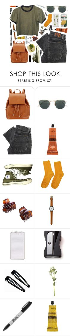 """""""Natalie"""" by elisaxsimmons ❤ liked on Polyvore featuring Barneys New York, Linda Farrow, Nudie Jeans Co., Aesop, Converse, John Lewis, Monkey Business, Clips, OKA and Sharpie"""