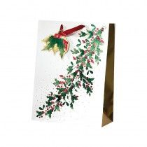 cancer research UK festive foliage bag Christmas Gift Bags, Christmas Shopping, Bags 2014, Cancer Research Uk, Foil Stamping, Floral Tie, Ladder Decor, Gift Wrapping, Colours