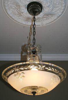 Antique vintage glass deco light fixture ceiling chandelier frosted  #artdeco