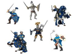 The Papo Blue Knights Deluxe Gift Set is a top of the range super saver for anyone looking to enhance their collection of Papo knights or medieval playset. These knights can be added to any wooden toy castle including the full range from Le Toy Van. Papo Blue Knights Set - 8 Knights and Horses included. Lively selection of two armoured battle horses with knight riders, plus a variety of four different fighting knights for ground support.