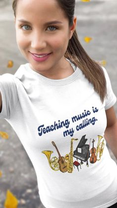 if teaching music is your calling then this shirt is for you! Check it out at the music gifts depot! Music Teacher Gifts, Music Gifts, Teaching Music, Prism Color, Ash Color, Choir, Fabric Weights, Piano, Gift Ideas