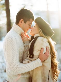 Snow engagement session | Olga Plakitina Photography | see more on: http://burnettsboards.com/2014/12/romantic-russian-winter-engagement-editorial/