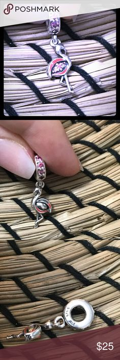 Pandora flamingo charm Pandora flamingo charm with orange enamel and fuchsia zirconia  Used but in good condition  Comes in a pandora box with a small gift Pandora Jewelry Bracelets