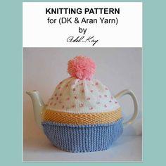 Knitting Pattern PDF Document Chloe Cupcake Birthday Cake Vintage DK Yarn Teapot Tea Room Cosy by Knit Designer Adel Kay