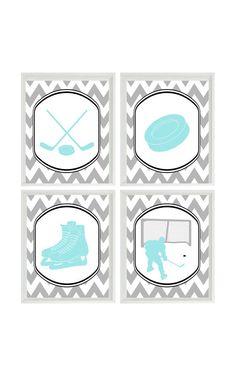 Hockey Wall Art Print Chevron Gray Aqua Nursery by RizzleandRugee