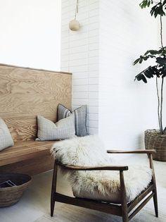 Neutral livingroom, great textures, natural fibers. Light Grey, light denim, sand, forest green, white, walnut, creme