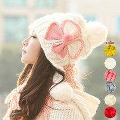 2016 Lovely Women Flower Knitted Cap Winter Warm Hat Earmuffs Cotton Bonnet Skullies Beanies Hats H9