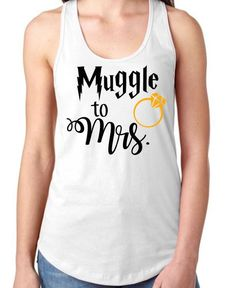 Muggle To Mrs  Racerback Tank  White Muggle To by DusselDesigns